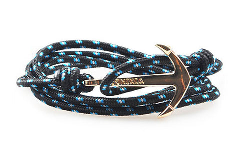 Artemis Black & Blue Gold Mens Anchor Bracelet