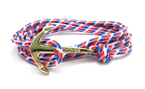 Artemis Red, White & Blue Gold Men's Anchor Bracelet