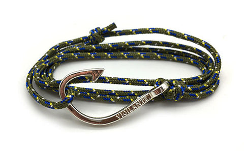 The Chuck Forest Green & Blue Silver Fish Hook Rope Bracelet