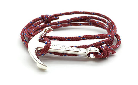 The Conrad Burgundy Silver Anchor Rope Bracelet