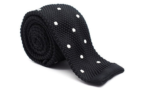 The Sanders Black Polka Dot Knit Tie