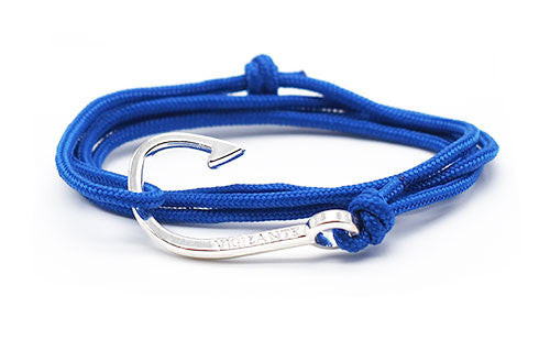 The Chuck All Blue Silver Fish Hook Rope Bracelet