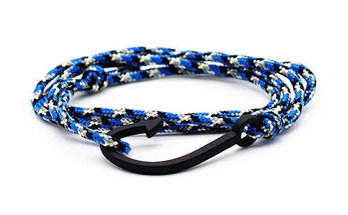 The Chuck Black & Blue Matte Black Fish Hook Rope Bracelet