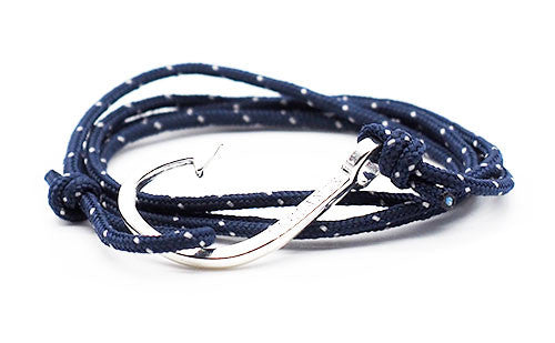 The Chuck Navy Blue Silver Fish Hook Rope Bracelet