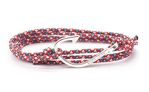 The Chuck Patriot Red White & Blue Silver Fish Hook Rope Bracelet