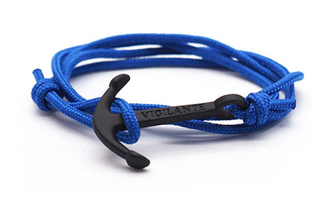 The Conrad Solid Blue & Matte Black Anchor Rope Bracelet