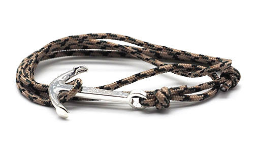 The Conrad Tan & Forest Silver Anchor Rope Bracelet