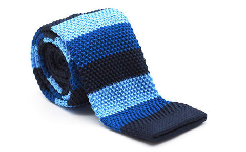 The Shae Blue Striped Slim Knit Tie