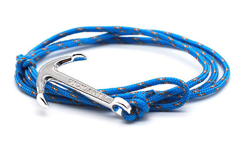 The Conrad Blue & Orange Silver Anchor Rope Bracelet