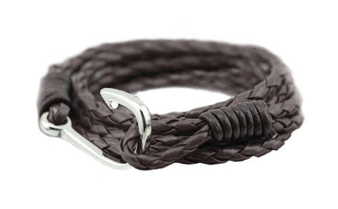 men's brown braided leather bracelet with silver fishing hook - The Winston