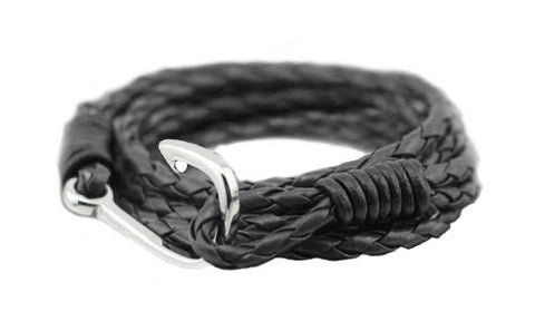 men's black braided leather bracelet with silver fishing hook - The Winston