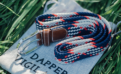 The Otto Cream, Navy & Red Canvas Belt