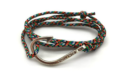 The Chuck Silver Fish Hook Orange, Green & White Rope Bracelet