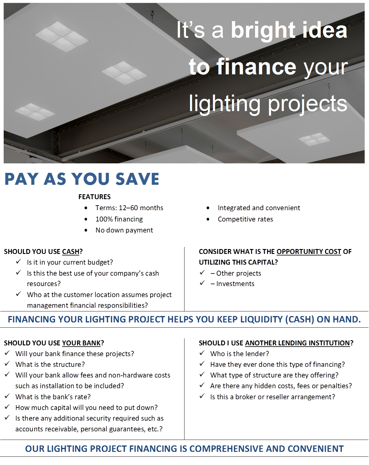 COMMERCIAL FINANCING for Lighting Upgrade Projects