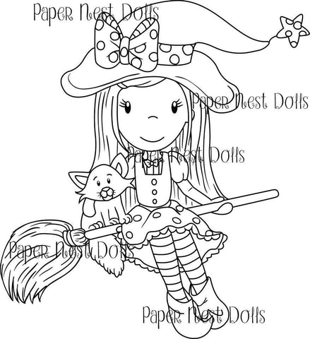 Witch Ellie Riding Broom