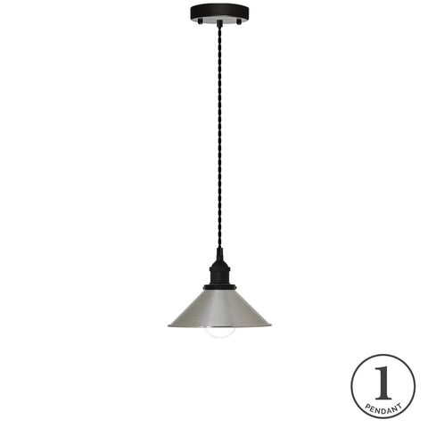 Pendant Light - Black and Nickel Shade