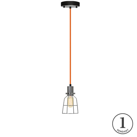 Pendant Light - Orange and Steel Cage