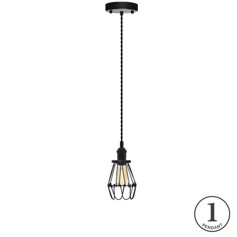 Pendant Light - Black and Black Hinge Cage
