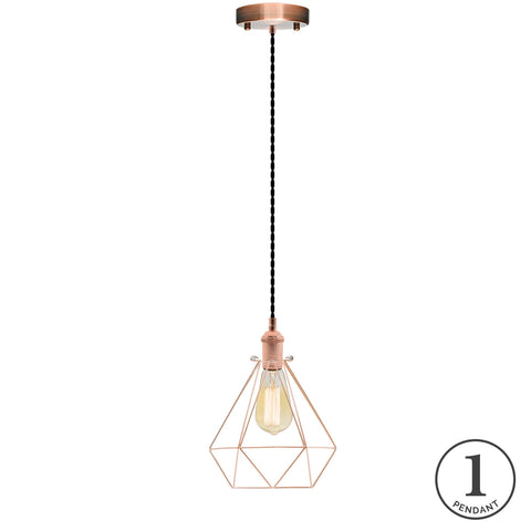 Pendant Light - Black and Copper Geometric Cage