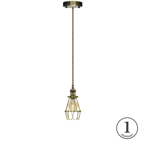 Pendant Light - Brown and Brass Hinge Cage