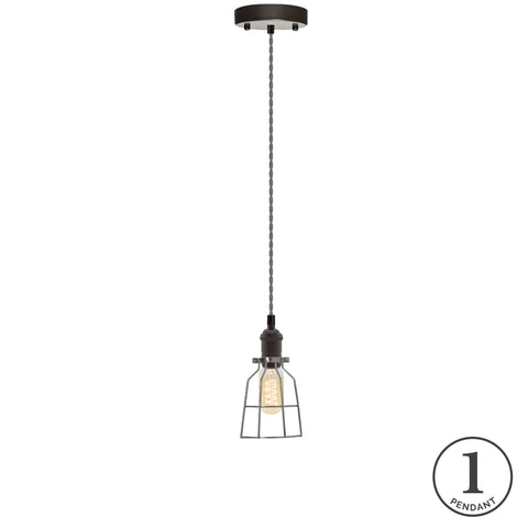 Pendant Light - Grey and Steel Cage