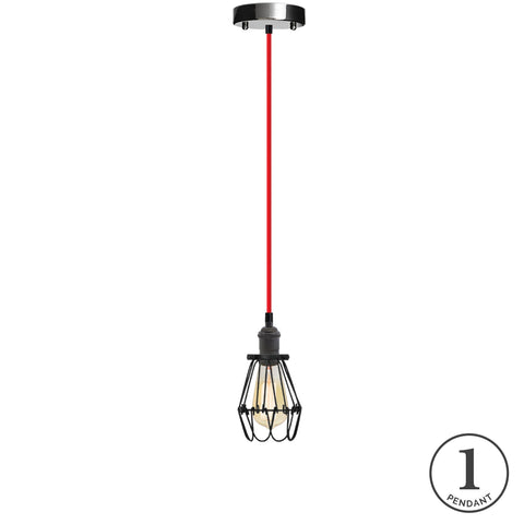 Pendant Light - Red and Black Hinge Cage
