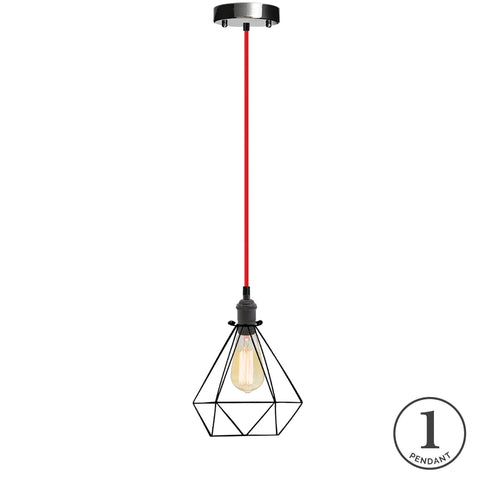 Pendant Light - Red and Black Diamond Cage