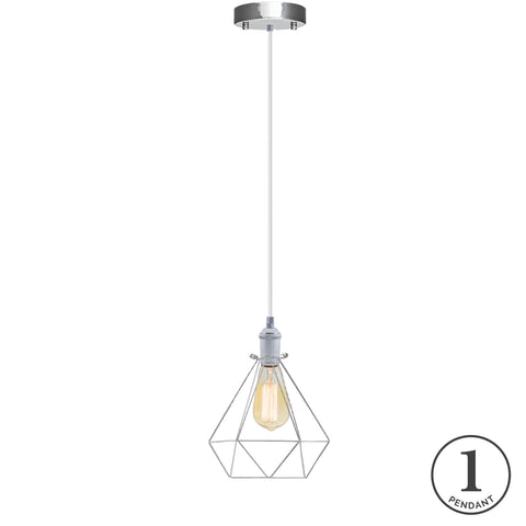 Pendant Light - White and Chrome Cage