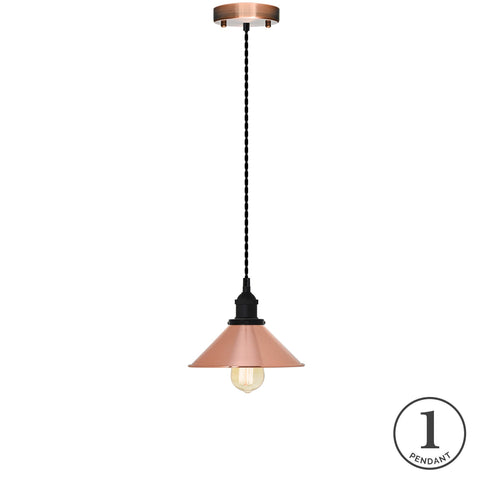 Pendant Light - Black Twisted and Copper Shade
