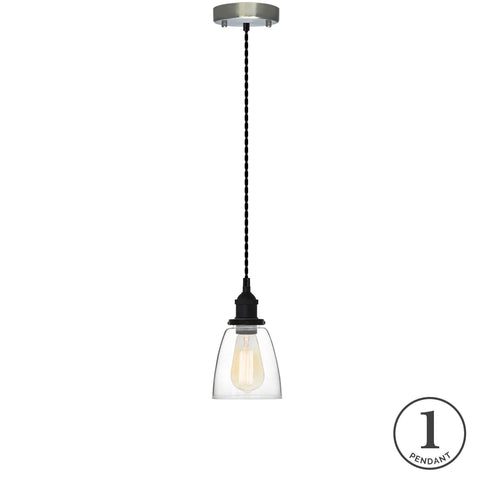 Pendant Light - Black and Glass Bell