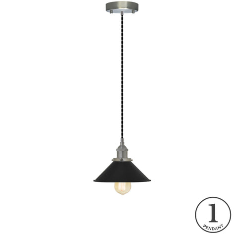 Pendant Light - Black and Black Shade