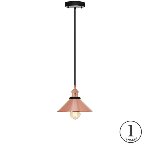 Pendant Light - Black and Copper Shade