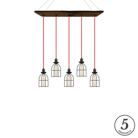 Reclaimed Wood Chandelier - Walnut, Red, and Black Cages