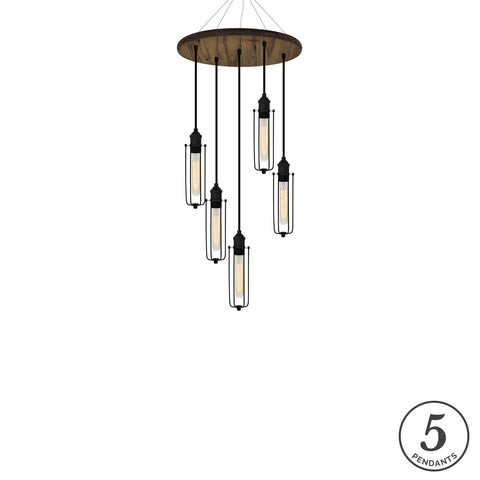 Wood Chandelier - Walnut, Black, and Tube Cages