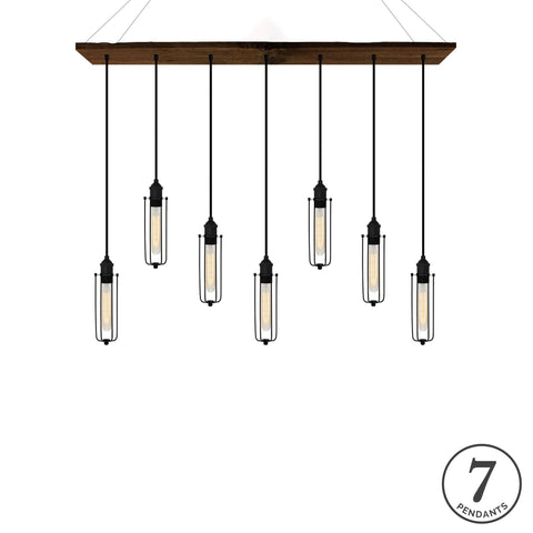 Reclaimed Wood Chandelier - Walnut, Black, and Tube Cages