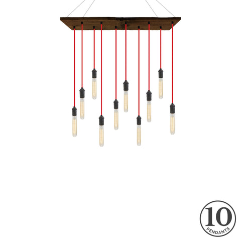 Reclaimed Wood Chandelier - Walnut, Red, and Graphite