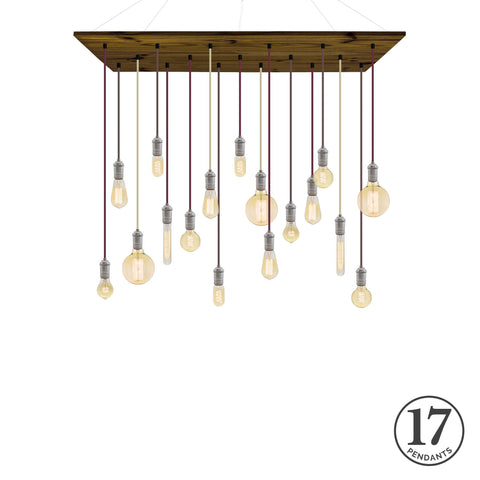 Wood Chandelier - Walnut with Wine Mix