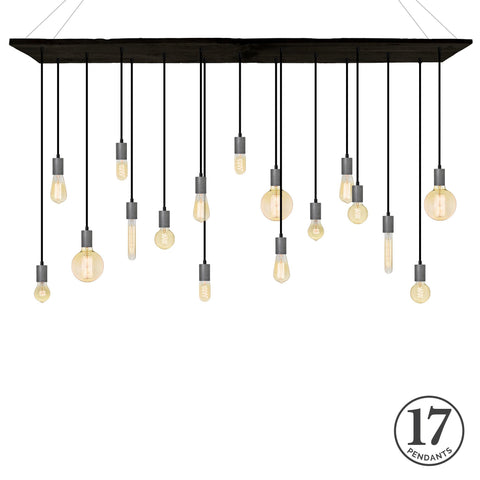 Reclaimed Wood Chandelier - Ebony, Black, and Steel
