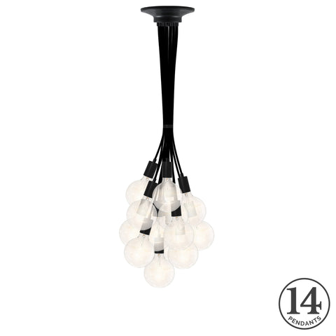 Pendant Cluster - Black and Clear Bulbs