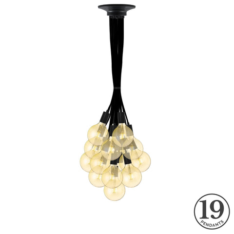 Pendant Cluster - Black and LED Bulbs