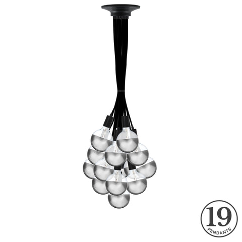 Pendant Cluster - Black and Chrome Dipped Bulbs