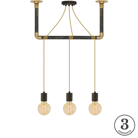 Wrap Chandelier - Gold, Wood and Brass