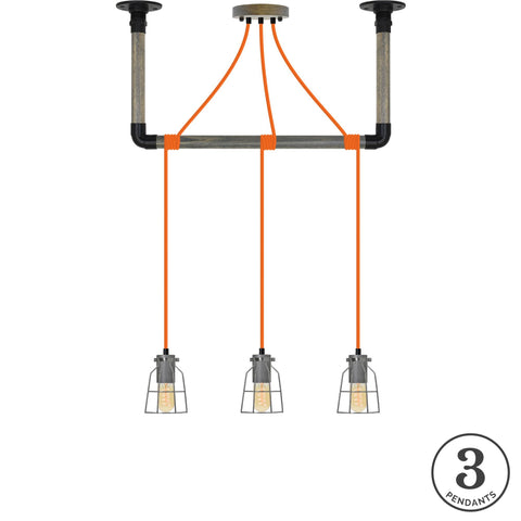 Wrap Chandelier - Orange, Black and Steel