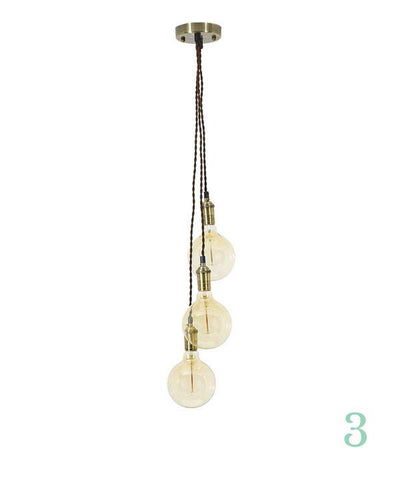 Pendant Light Cluster - Staggered - Brown Twisted Antique Brass - 3