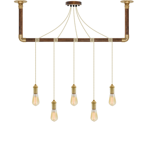 Wrap Chandelier - Beige and Brass