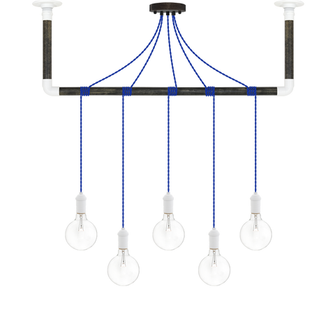 Wrap Chandelier - Blue, Ebony and White