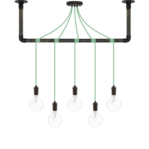 Wrap Chandelier - Mint, Ebony and Bronze