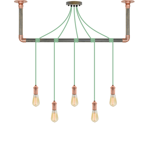 Wrap Chandelier - Mint, Grey and Copper