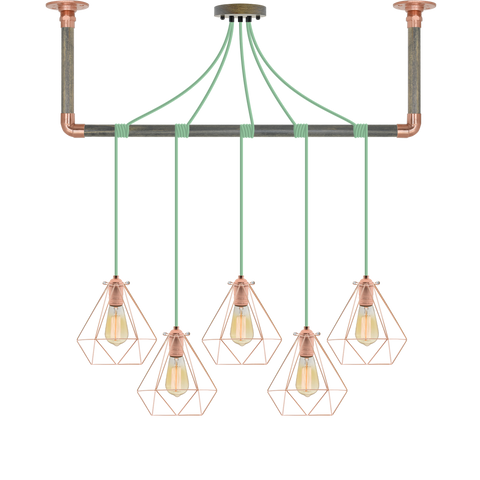 Wrap Chandelier - Mint, Grey and Copper Cage