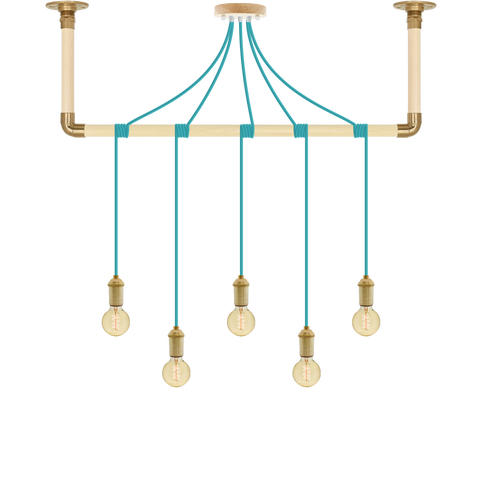 Wrap Chandelier - Turquoise and Brass